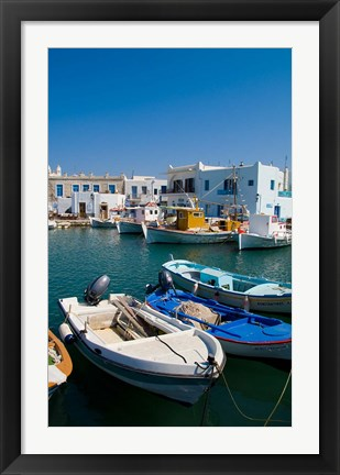 Framed Fishing Boats in Naoussa, Paros, Greece Print