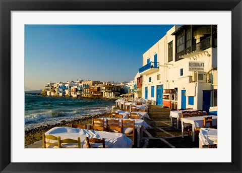 Framed Little Venice, Mykonos, Greece Print
