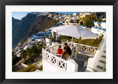 Framed Mountain Cliffs of Fira, Santorini, Greece Print