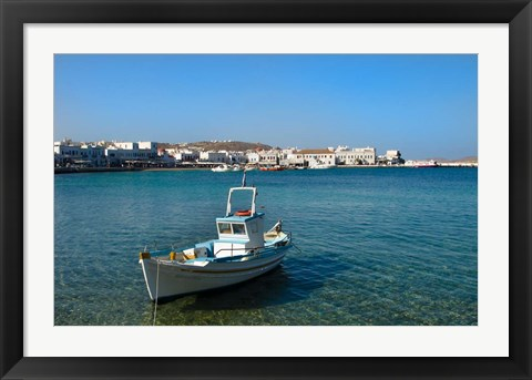 Framed Mykonos, Greece Boat off the island with view of the city behind Print