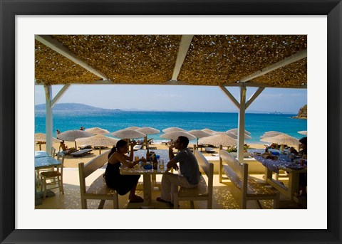 Framed St Stefanos Beach, Mykonos, Greece Print
