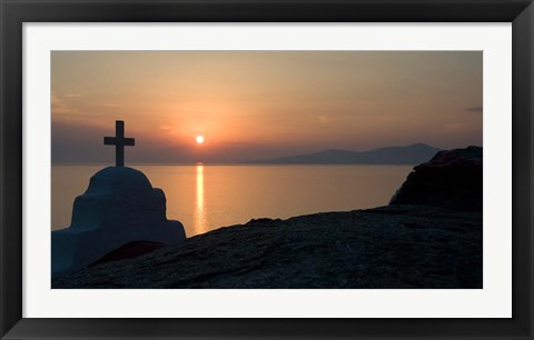 Framed Greece, Mykonos, Hora, Greek Orthodox church Print