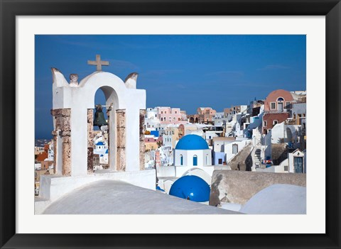 Framed Bell tower and blue domes of church in village of Oia, Santorini, Greece Print