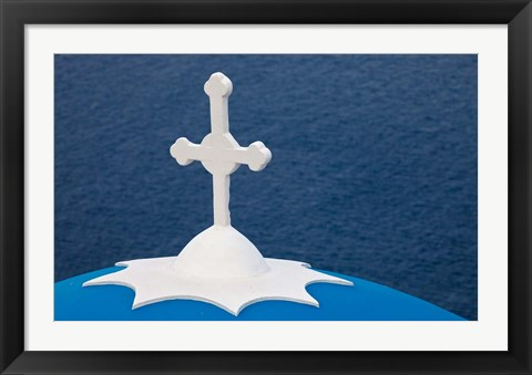 Framed Church with blue dome and white cross in village of Firostefani, Santorini, Greece Print