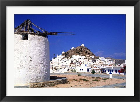 Framed White and Blue Colors of Life, Ios, Greece Print