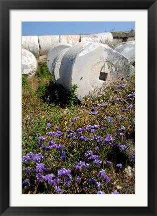 Framed Greece, Cyclades, Delos Ancient Architecture Print