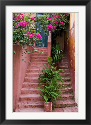 Framed Colorful Stairways, Chania, Crete, Greece Print