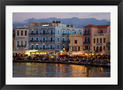 Framed Evening Light along the Old Harbor, Chania, Crete, Greece Print