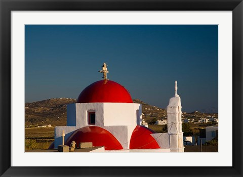 Framed Greece, Mykonos, Red Dome Church Chapels Print