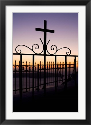 Framed Greece, Santorini, Fira, iron cross, Christianity Print