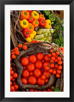 Framed Market With Vegtables, Fira, Santorini, Greece Print