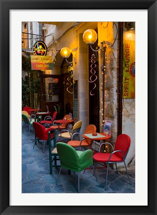 Framed Outdoor Cafe Seating, Chania, Crete, Greece Print