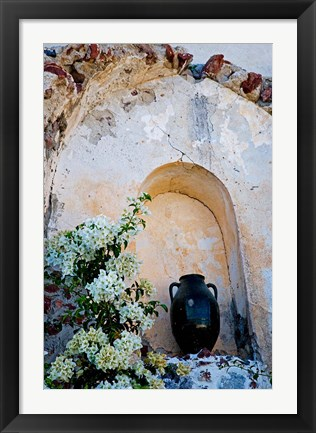Framed Pottery and Flowering Vine, Oia, Santorini, Greece Print