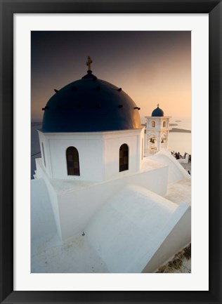 Framed Small Town of Imerovigli, Santorini, Greece Print