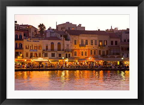 Framed Old Harbor, Chania, Crete, Greece Print