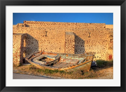 Framed Old fishing boat on dry land, Oia, Santorini, Greece Print