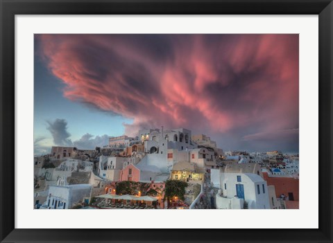 Framed Sunset over Oia, Santorini, Greece Print
