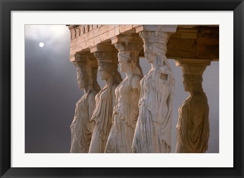 Framed Greek Columns and Greek Carvings of Women, Temple of Zeus, Athens, Greece Print