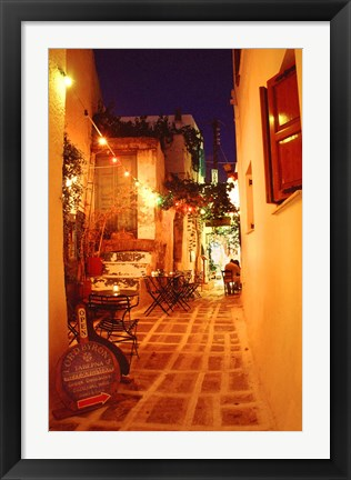 Framed Ios, Greece Restaurant setting on the Greek isle Print
