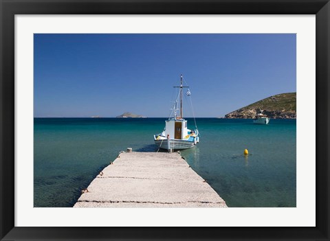 Framed Greece, Dodecanese, Patmos, Fishing boat Print