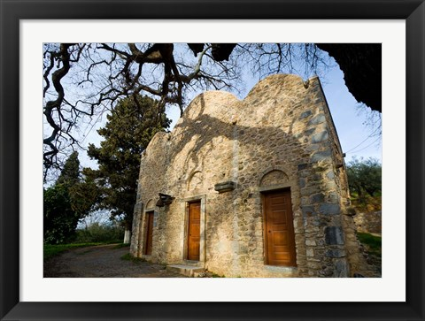 Framed Byzantine church near Kastelli, Church Ayios Panteleimon, Crete, Greece Print
