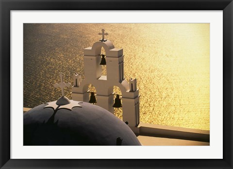 Framed Seaside church tower with bell, Santorini, Greece Print