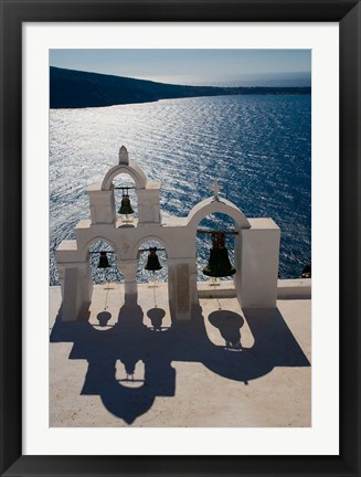 Framed Bell Tower overlooking The Caldera, Oia, Santorini, Greece Print