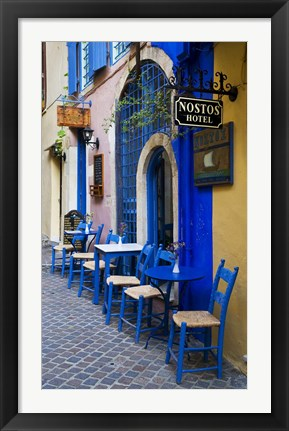 Framed Colorful Blue Doorway, Chania, Crete, Greece Print