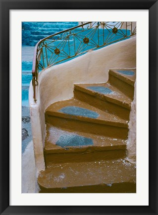 Framed Curved Stairway in Athens, Greece Print
