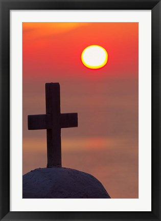 Framed Christian cross, sunset, Mykonos, Greece Print