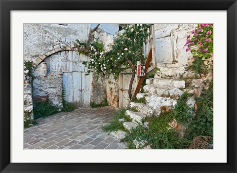 Framed Old door, Chania, Crete, Greece Print