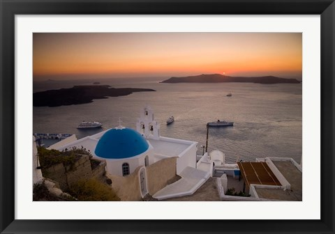Framed Blue Domed Church and Bell Tower, Fira, Santorini, Greece Print