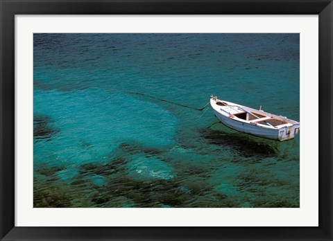 Framed Boat in Harbor, Lakonian Mani, Areolopi, Peloponnese, Greece Print