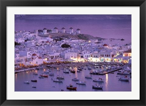 Framed Overview of Mykonos Town harbor, Mykonos, Cyclades Islands, Greece Print