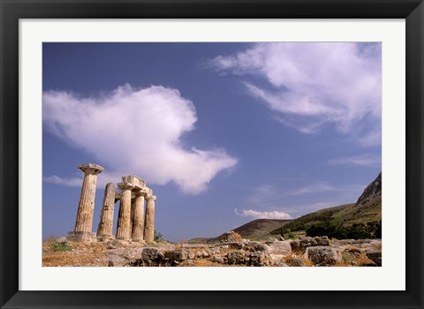 Framed Ruins of the Temple of Apollo, Corinth, Peloponnese, Greece Print