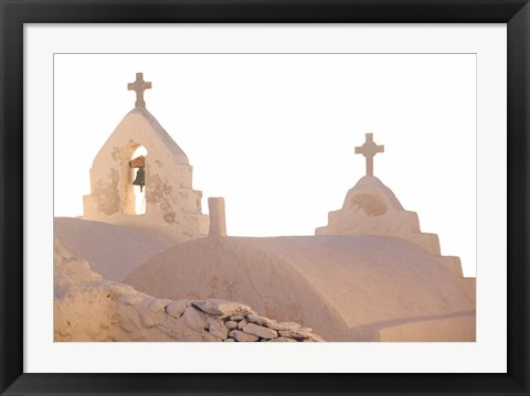 Framed Bell of Greek Orthodox Church, Mykonos, Cyclades, Greece Print