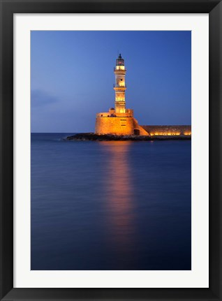 Framed Chania Lighthouse, Crete, Chania, Greece Print