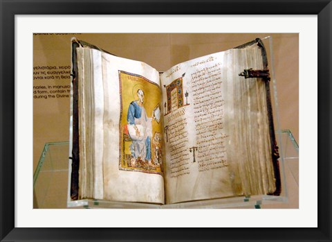 Framed Lectionary, Christianity, Byzantine Museum, Athens, Greece Print