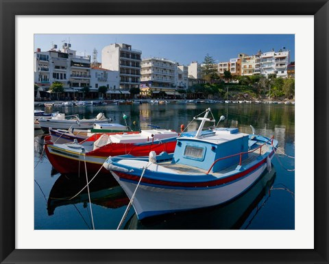 Framed Boats on The Lake, Agios Nikolaos, Crete, Greece Print