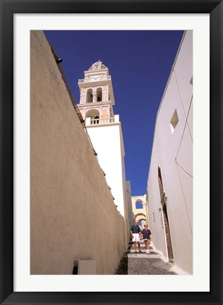 Framed Couple Walking Down Steps, Santorini, Greece Print