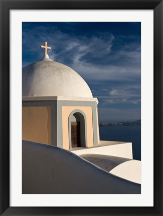 Framed Church Dome Against Sky, Santorini, Greece Print