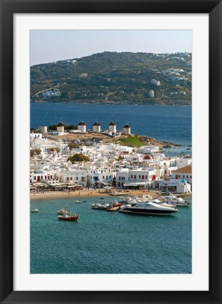 Framed Greece, Mykonos, Chora, Inner Harbor of Mykonos Print