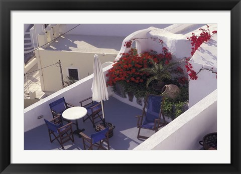 Framed Patio of Hotel Between Fira and Imerovigli, Greece Print