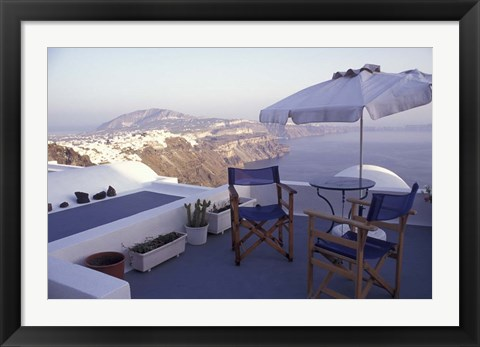 Framed View Toward Caldera, Imerovigli, Santorini, Greece Print