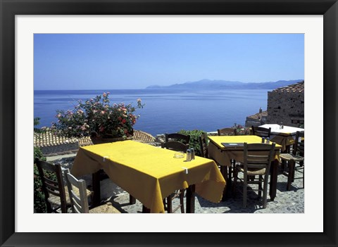 Framed Outdoor Restaurant, Monemvasia, Greece Print