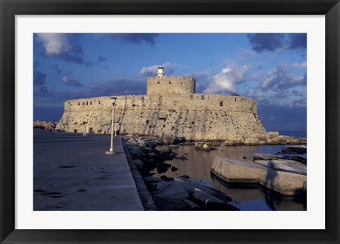 Framed Fort St Nicholas and Mandraki Harbor, Rhodes, Greece Print
