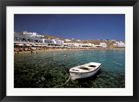 Framed Platis Gialos Beach, Mykonos, Cyclades Islands, Greece Print
