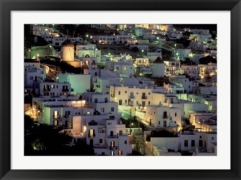 Framed Hilltop Buildings at Night, Mykonos, Cyclades Islands, Greece Print
