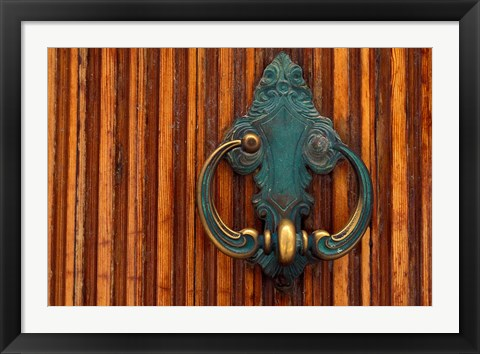 Framed Door Knocker, Santorini, Greece Print