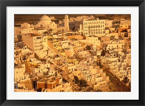 Framed View of Thira at Sunset, Santorini, Cyclades Islands, Greece Print